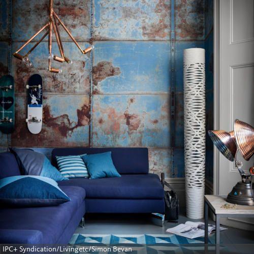 Ideen Burnout Im Wohnzimmer Lool Stil: Industrial Chic Mit Blautönen