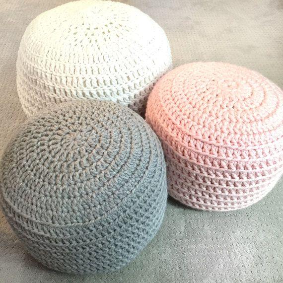 White Pouf Ottoman Mint Green White Grey Hand Crochet Pillow Ottoman Pouf Footstool