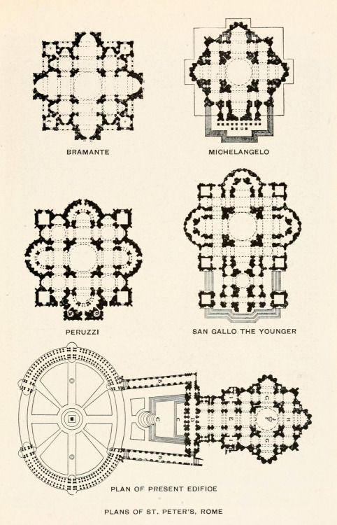 Various plans of st peters vaticano tuscanyagriturismogiratola architectural drawings malvernweather Choice Image