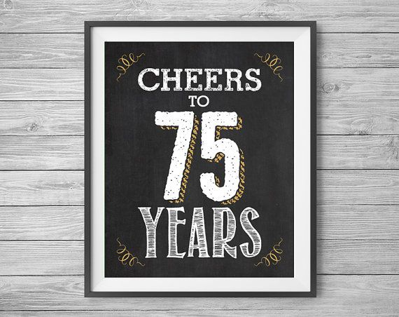 75th Birthday Or Anniversary Sign Printable Party Decor 4