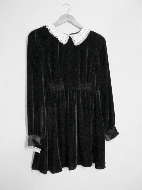 3bc962e355eb velvet collar dress | Dressed up | Fashion, Babydoll dress, Collar dress