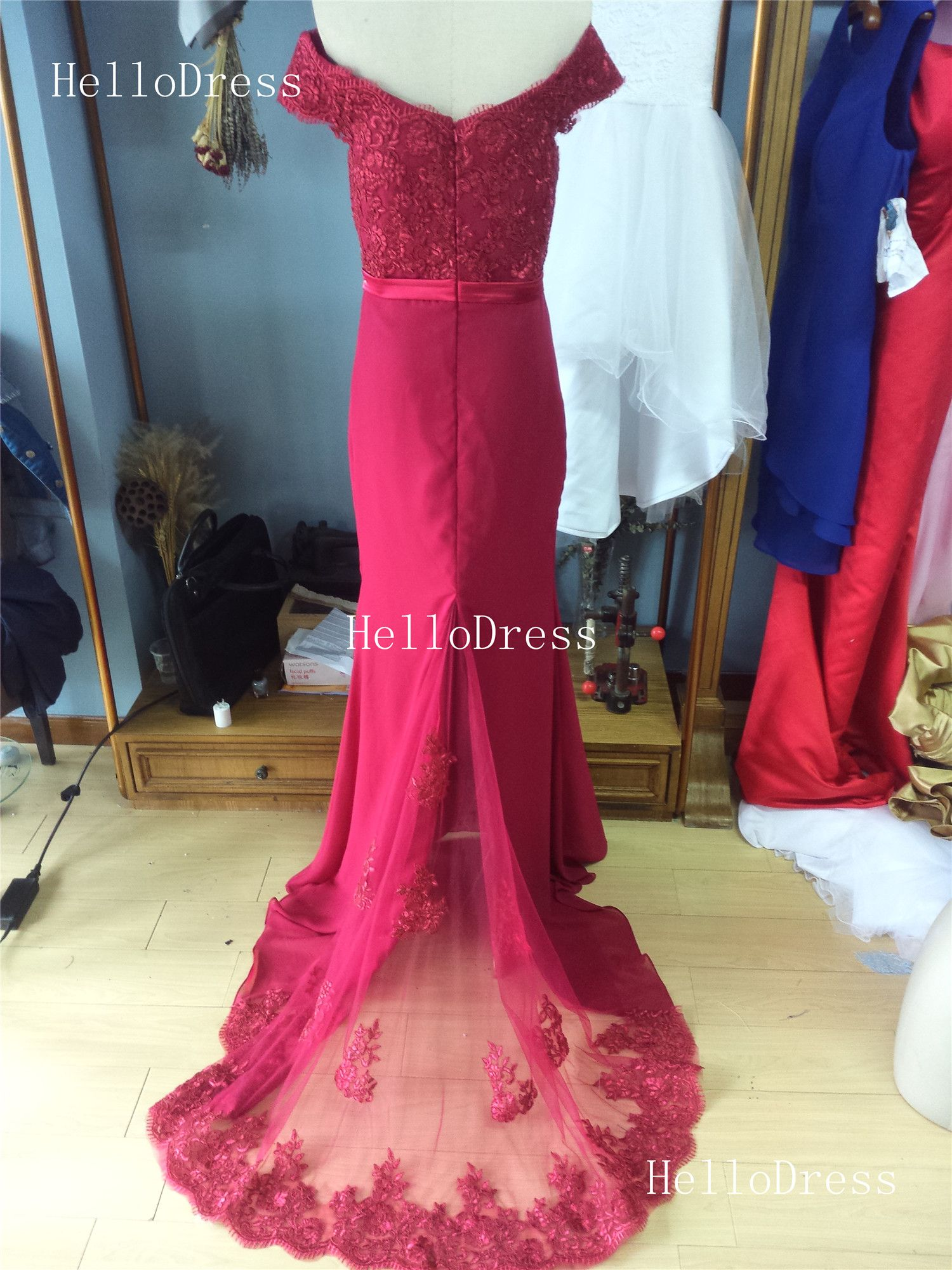 Wine Red Off-shoulder Mermaid Trumpet Formal Occasion Dress Evening Gown  sold by HelloDress dcec8ecf9