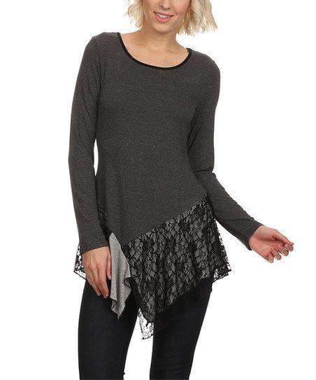 Gray & Black Lace-Trim Handkerchief Tunic