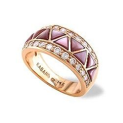Rose Gold Kabana Ring with Pink Mother of Pearl Inlay and Diamonds