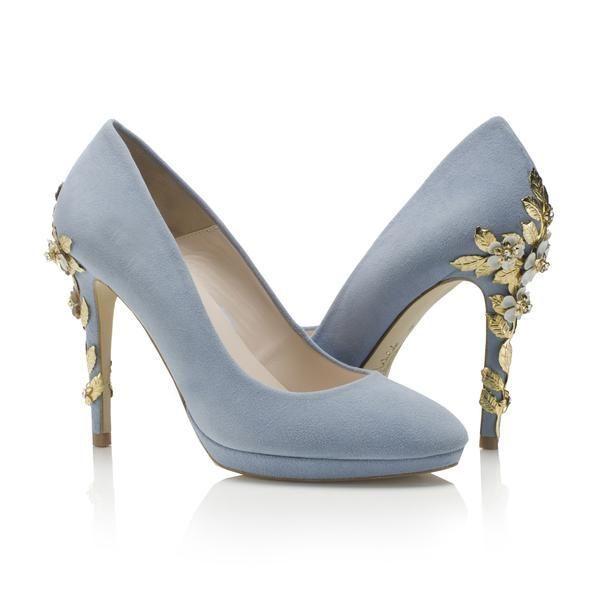 Amy Blue Blossom Harriet Wilde Designer Wedding Shoe Bridal