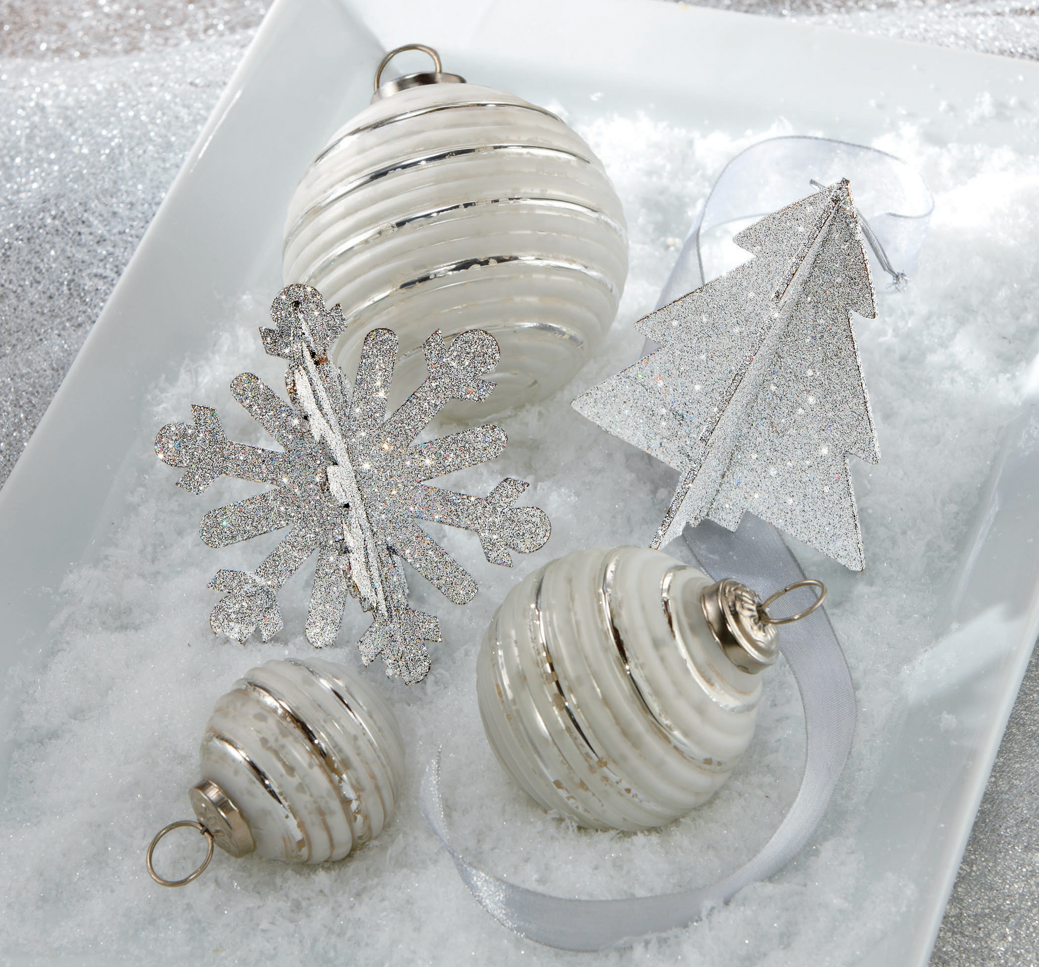 classic Christmas tree ornaments elegant white glass with shiny