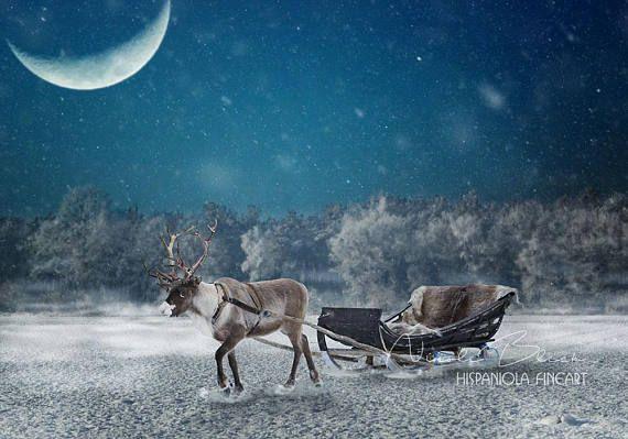 rentier mit schlitten fertigte szene weihnachts kulisse