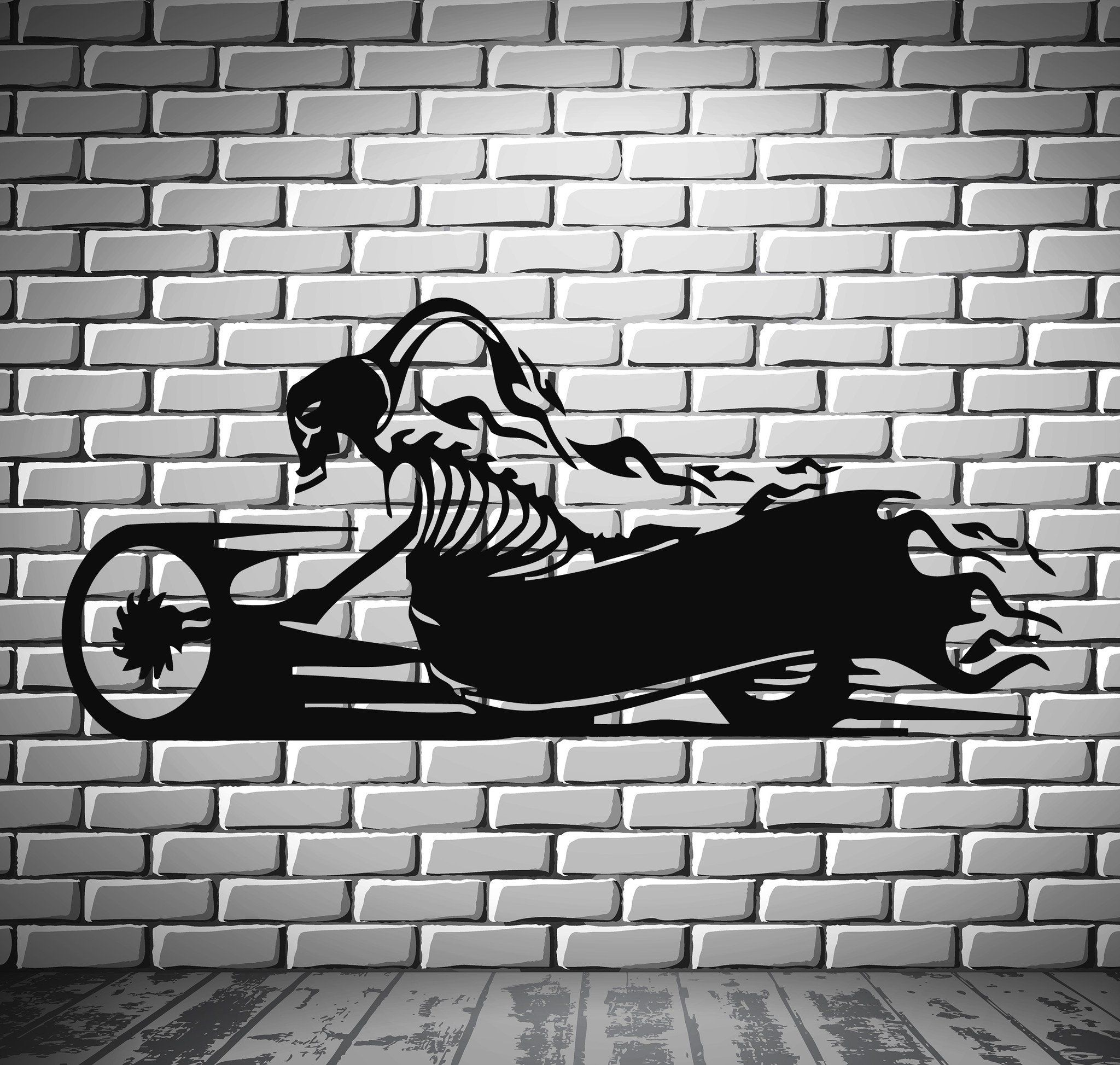 Devil Bike Scull Death Scary Sport Decor Wall Mural Vinyl