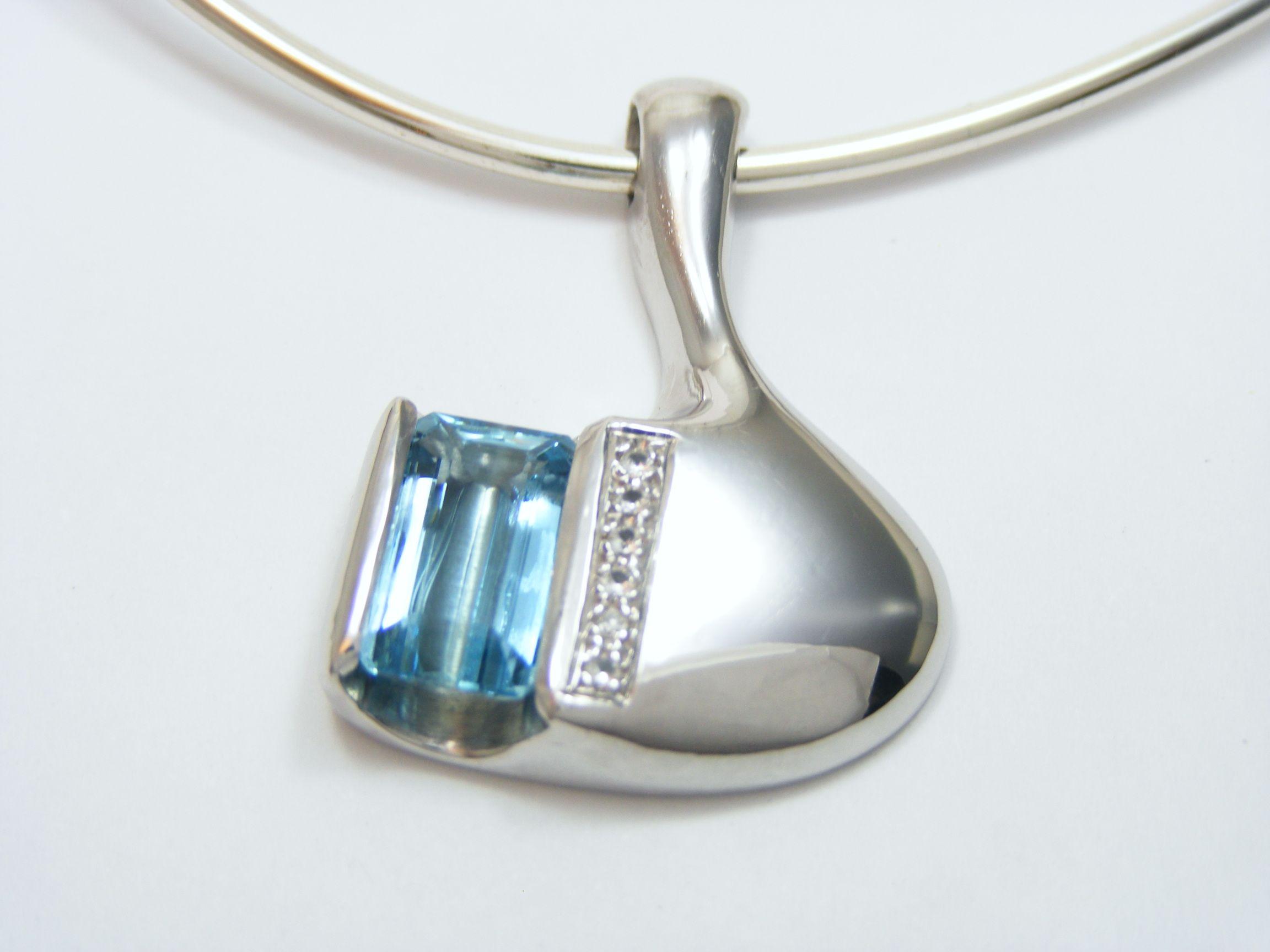 Silver Pendant (BlueTopaz ・Dia)