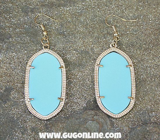 9c55ea3f71a309 The Olivia Earring in Gold and Sky Blue www.gugonline.com $9.95 Giddy Up