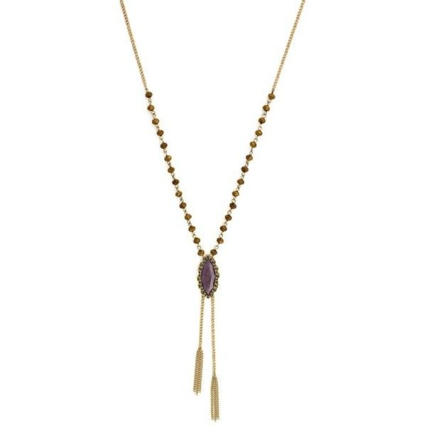 Jessica Simpson Purple Gold-Tone Purple Beaded Encrusted Y Necklace ($35) ❤ liked on Polyvore featuring jewelry, necklaces, purple, druzy necklace, jessica simpson necklace, statement necklace, beaded statement necklace and beading necklaces