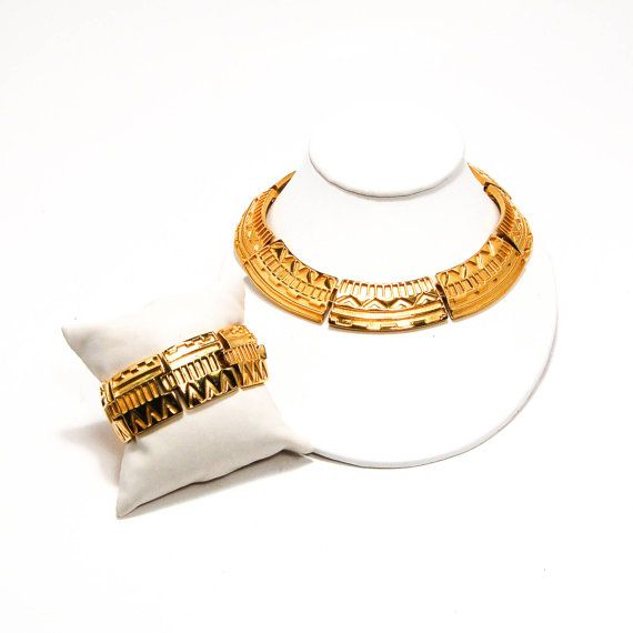 Monet Egyptian Revival Collar Necklace and Bracelet Set, Demi Parure, Gold Tone, Monet Masters Collection, Runway Couture