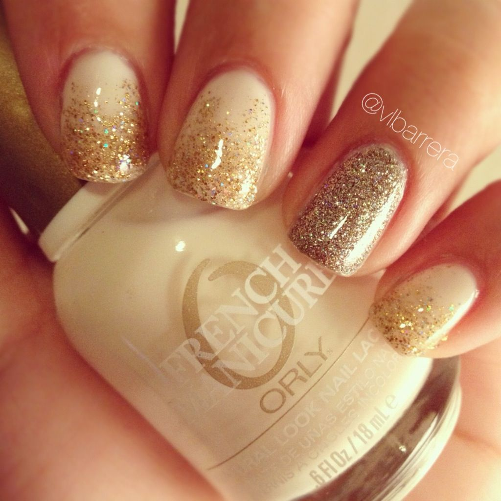 white nude nails with glitter ombré and glitter accent nail. orly