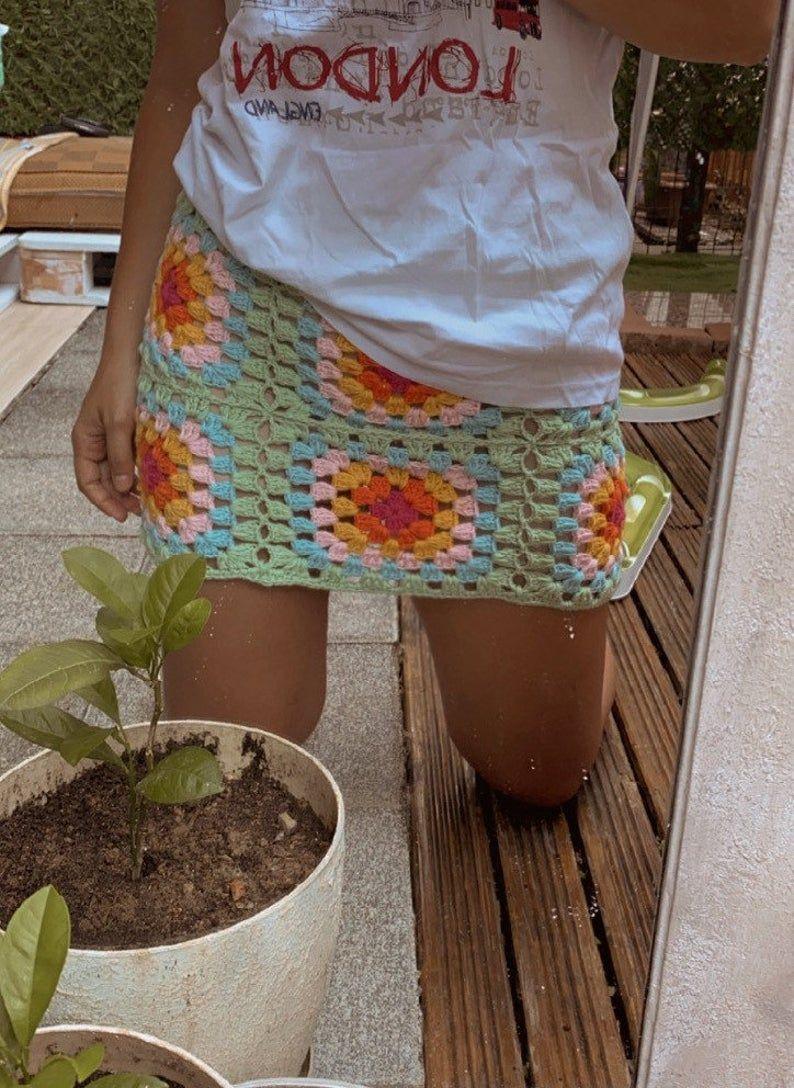 Granny Square Skirt Crochet Mini Colorful Skater Skirt, Boho Crochet Skirt | Etsy