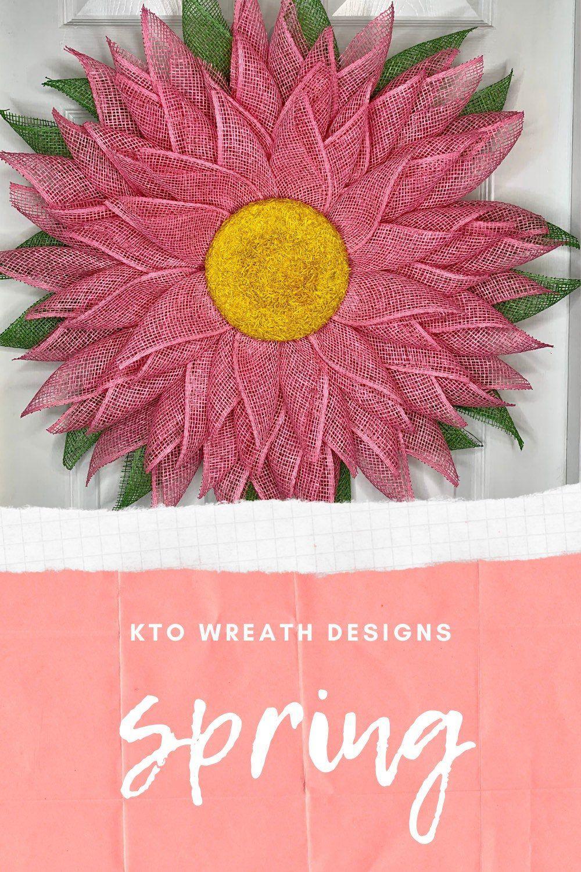 Photo of Daisy wreath, pink daisy wreath for front door, flower door hanger, flower door decor, flower door hanger, daisy door decor