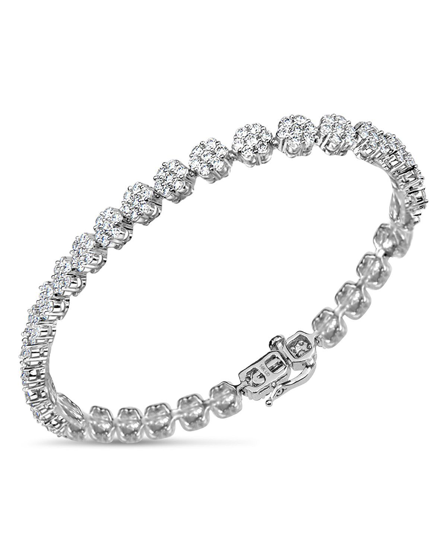48565cc5cc4cd Bloomingdale's - Diamond Flower Tennis Bracelet in 14K White Gold ...