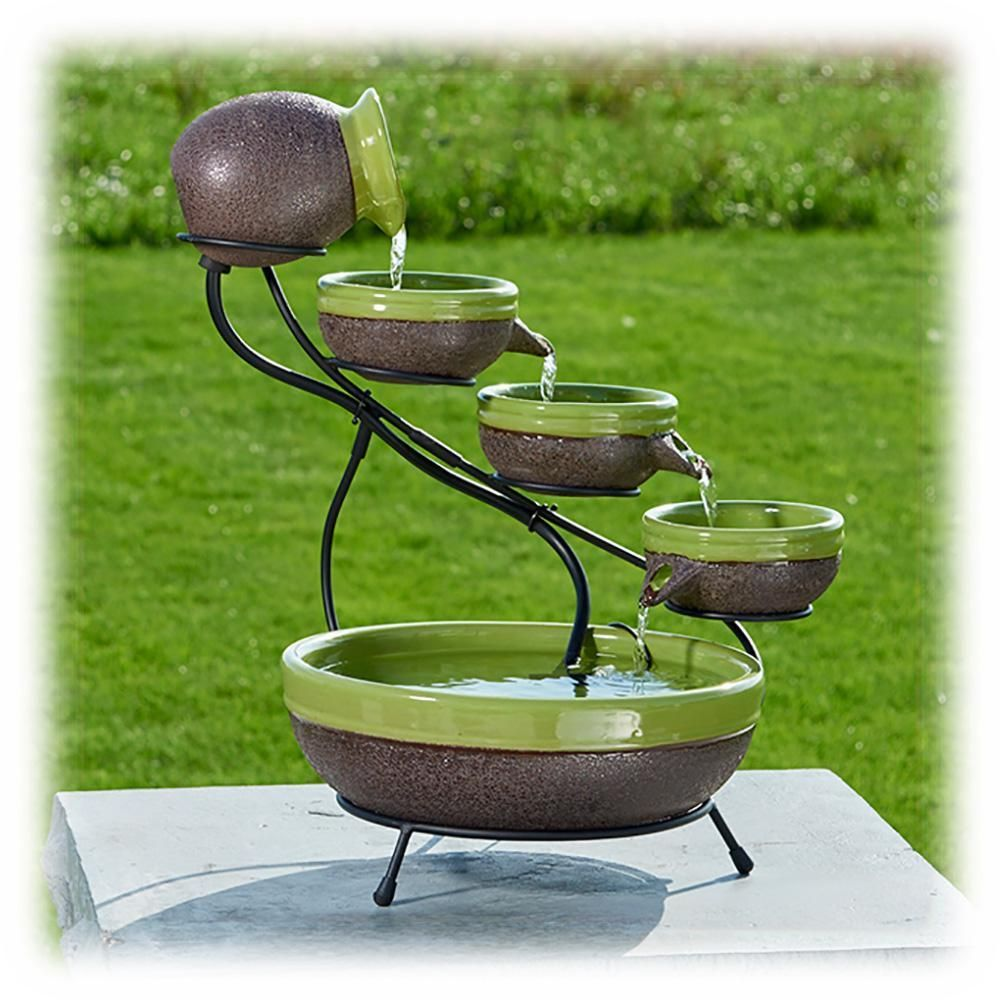 Garden water features solar power  Solar Power  Tier GreenGray Ceramic Bowls Fountain with Metal