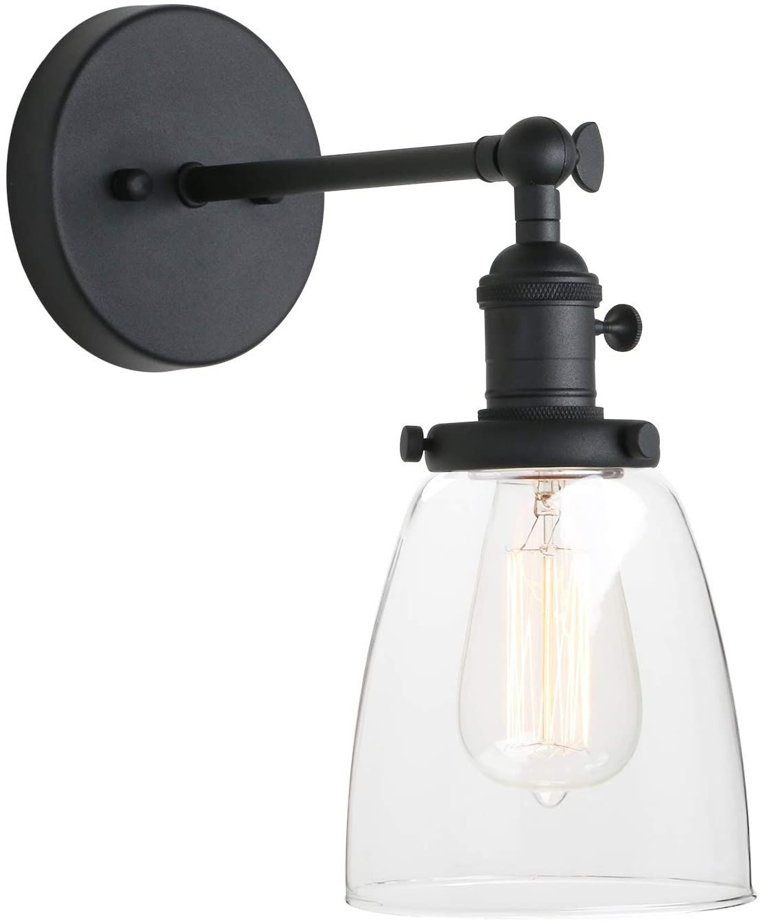 Pathson Vintage Wall Sconce With On Off Switch Clear Glass Shade Black Vanity Light Indoor Wall Li In 2020 Vintage Wall Sconces Black Vanity Light Brass Vanity Light