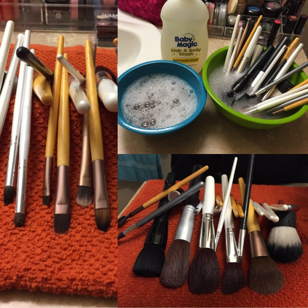 Weekly task deep clean make up brushes. Soak them in baby