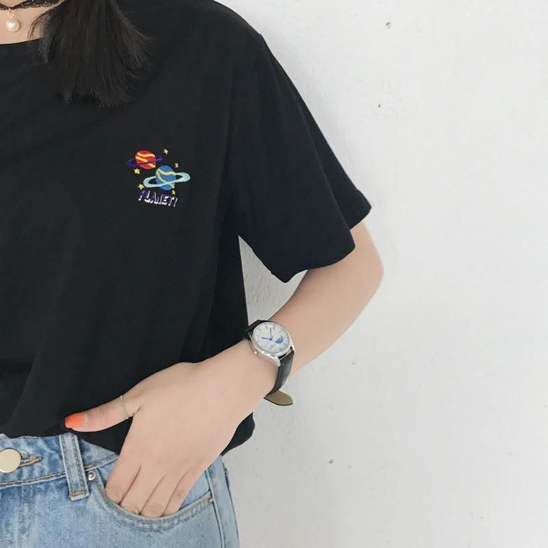 18ccc413f242 itGirl Shop EMBROIDERY PLANETS BLACK WHITE COTTON T-SHIRT Aesthetic Apparel