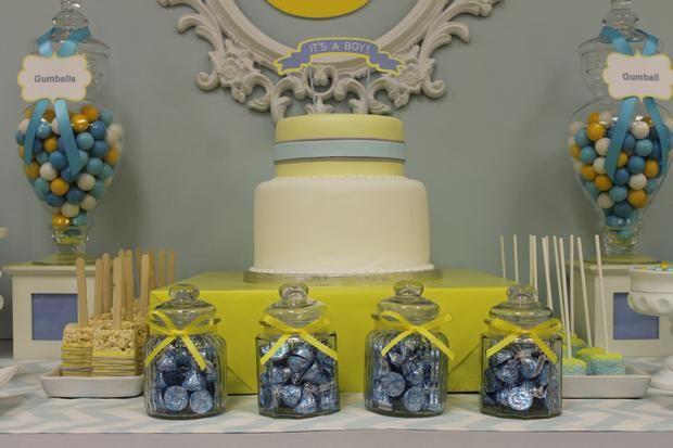 Gray Blue Yellow Baby Shower Ideas Via Babyshowerideas4u Delicious