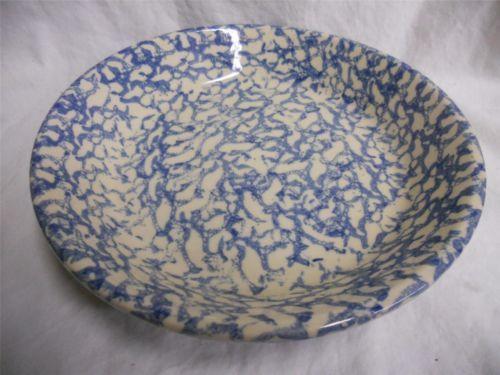 Details About Henn Pottery Green Cream Spongeware Shallow
