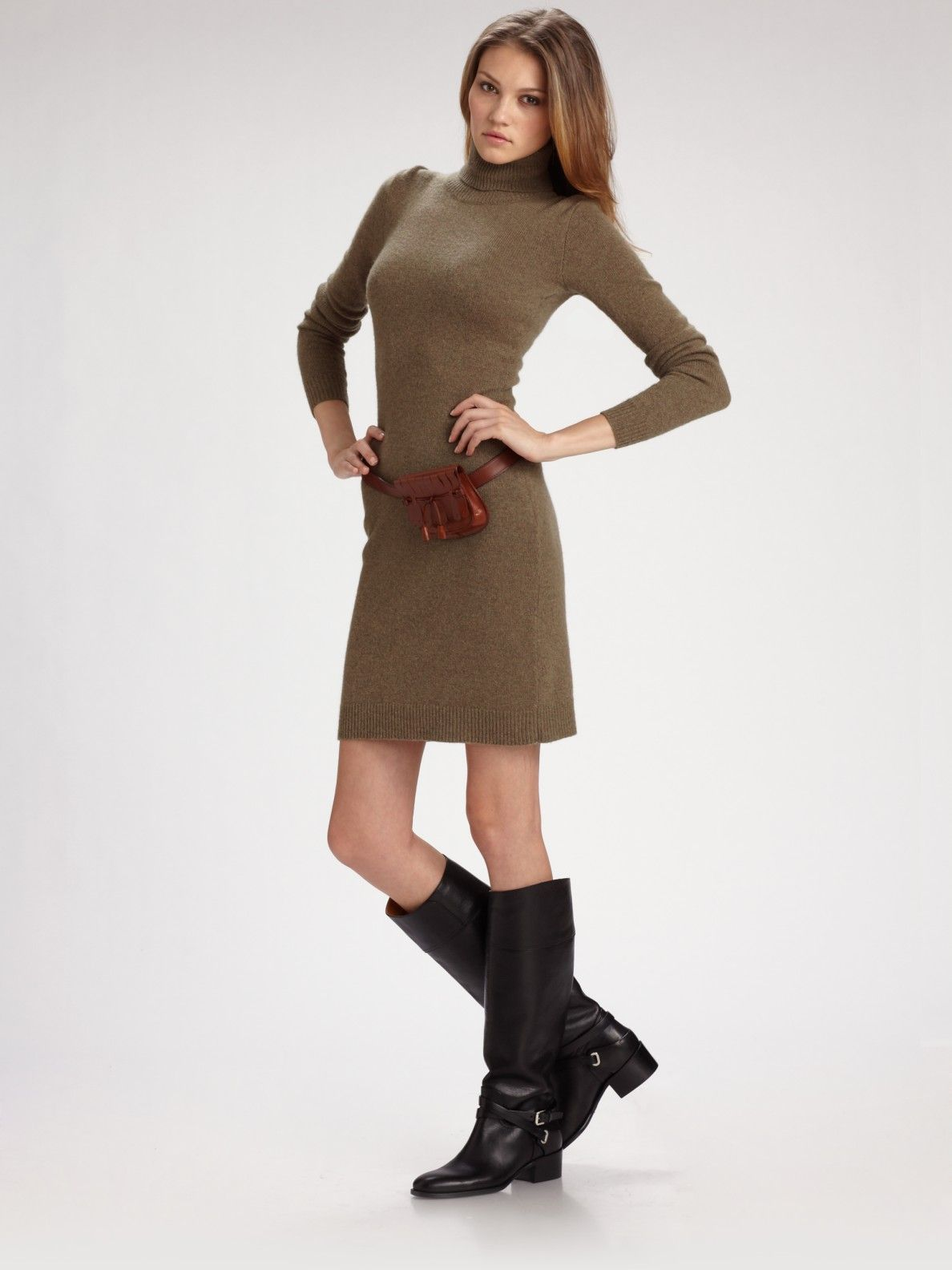Women's Green Turtleneck Sweater Dress | Ralph lauren, Tans and Blue