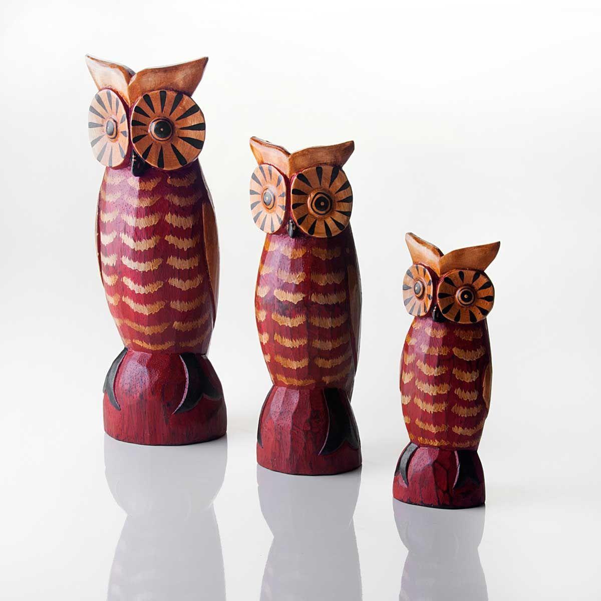 Ibacana - Trio de Corujas Antik Vermelho