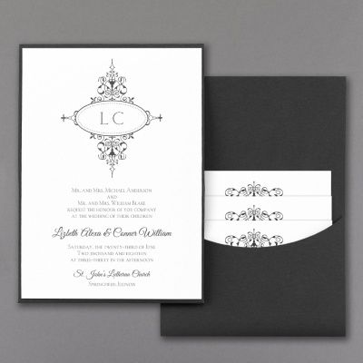 Monogram Flourish Invitation With Black Pocket White Pocket