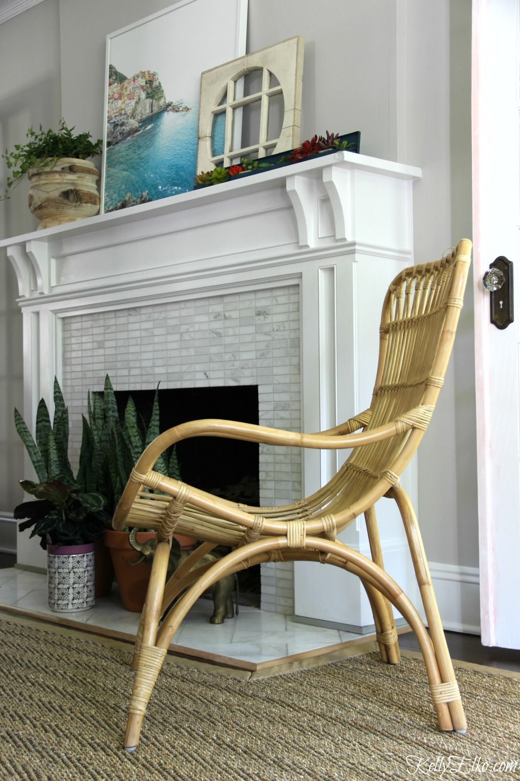 ikea casual chairs club swivel base color lovers my colorful living room makeover homegoods love this outdoor rattan chair from used inside adds so much texture and a feel to the tour eclectic
