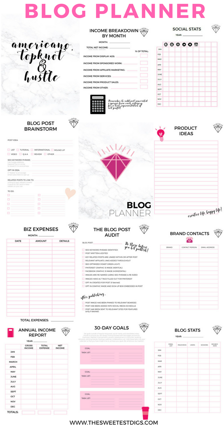 Printable Blog Planner More