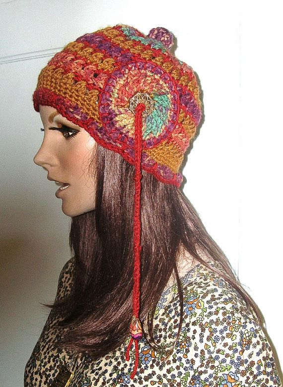 OOAK Crochet Hippie Hat Slouchy Beanie by Guerillagranny on Etsy ... fd5c910942d