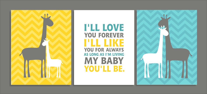 Love Forever Giraffe Children\'s Wall Art, Children\'s Art Print ...