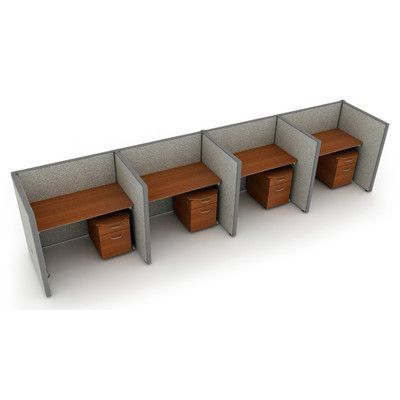 """OFM Privacy Station Panel System 1x4 Configuration Top Finish: Cherry, Panel Color: Gray Vinyl, Size: 47"""" H x 48 - 202.5"""" W"""