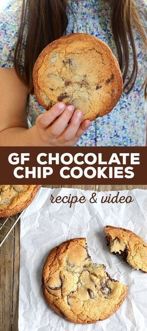 Recipe + Video of gluten free chocolate chip cookies that taste exactly like the famous crispy outsi...
