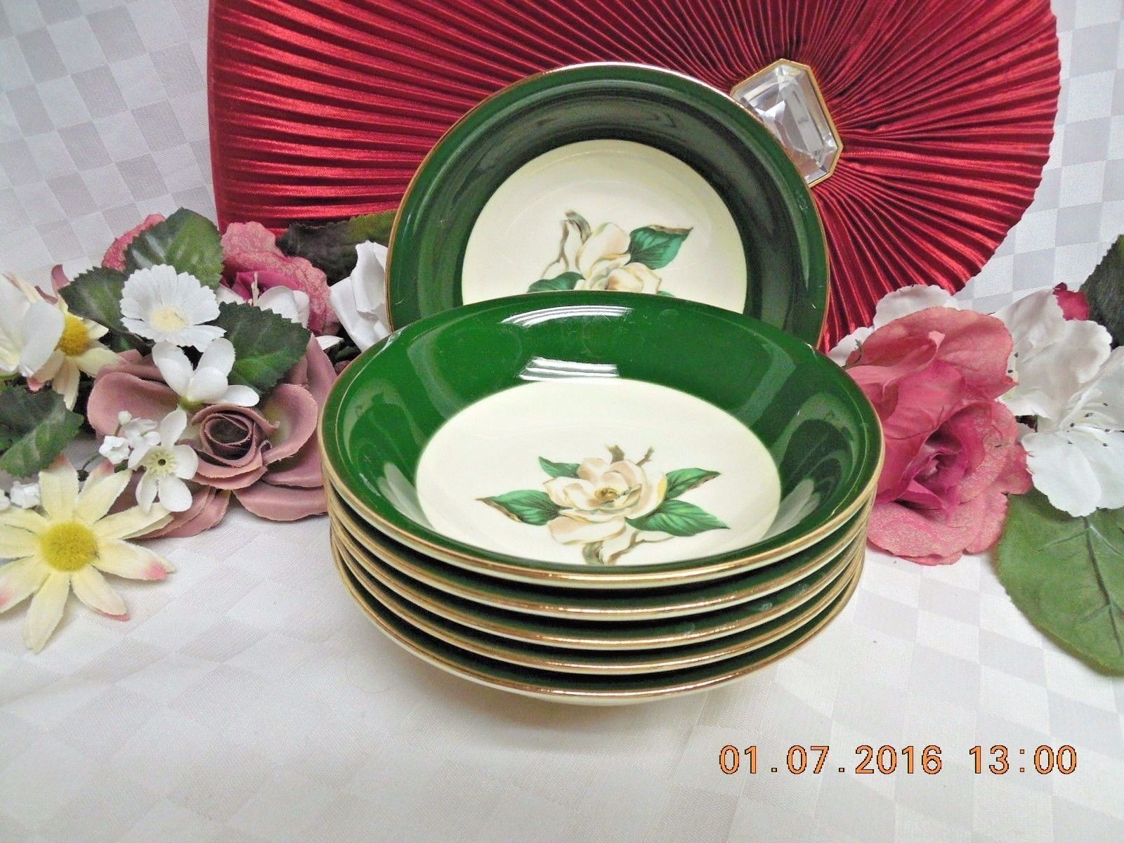 Jaderose by Lifetime (Homer Laughlin) China Dinnerware Green set 4 Fruit/sauce