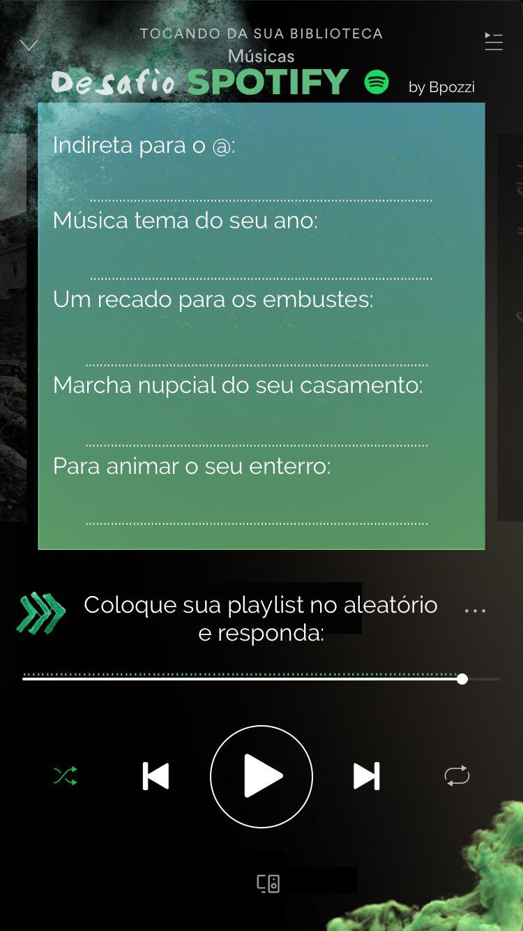 Template para Stories do Instagram - suas músicas do Spotify