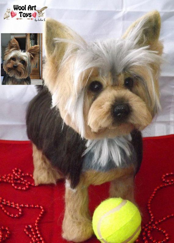 Custom Yorkshire Terrier Artist Needle Felted Dog von WoolArtToys