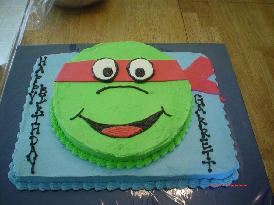 Ninja Turtle cake made from circle and sheet cake. Use ...