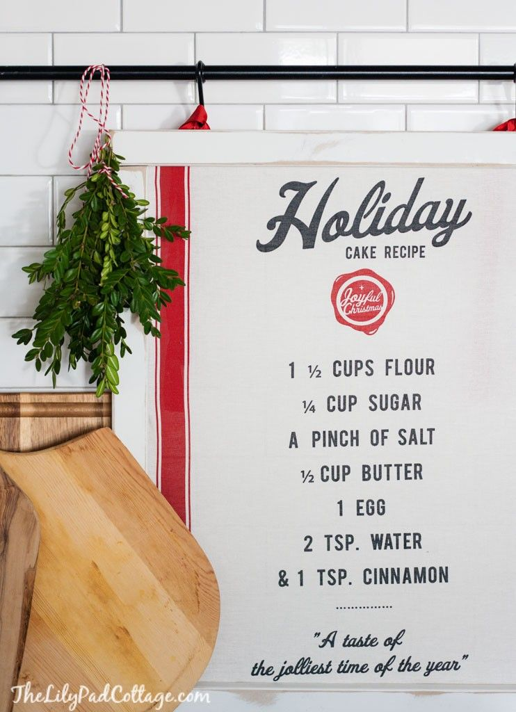 Easy tutorial for DIY Tea Towel Art great for Christmas Decor or any seasonal change.