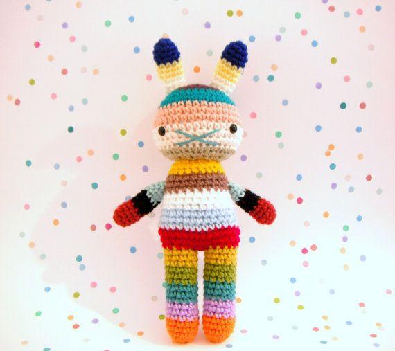 children rabbit toy, crochet amigurumi doll, bright colorful rainbow .. hobart on Etsy, $35.00 AUD