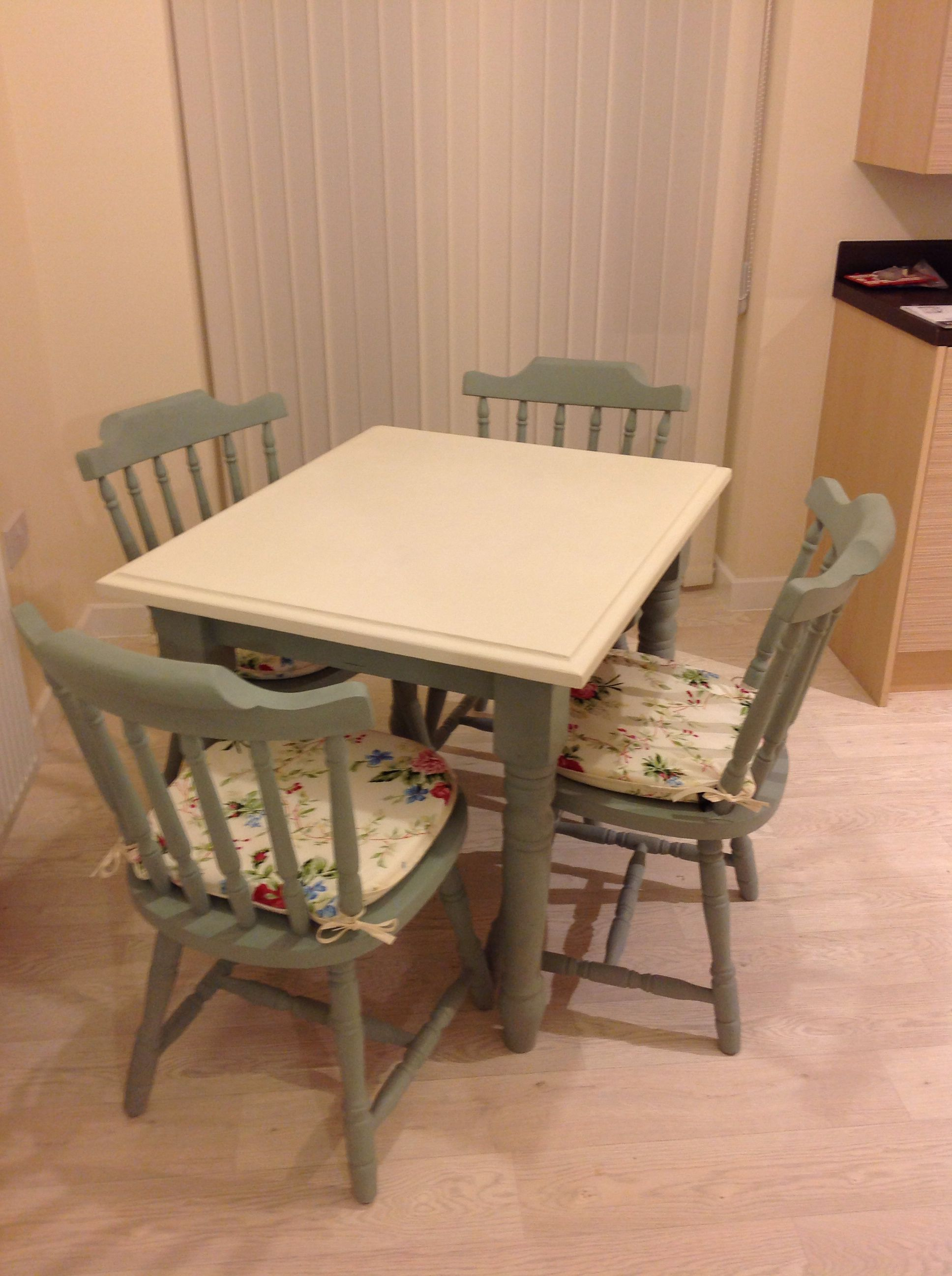 Upcycled An Old Pine Table And Chairs Into A Cream And Duck Egg