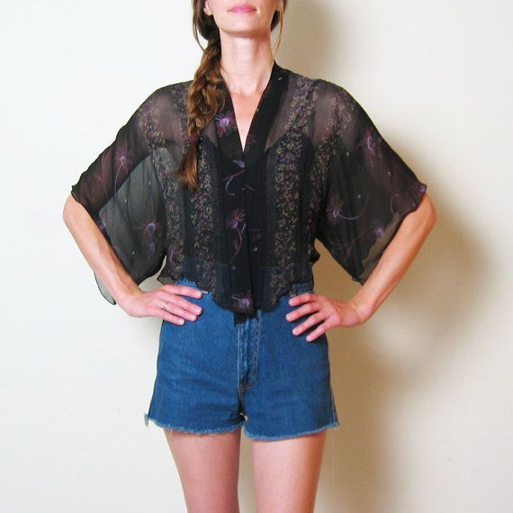 1970s SHEER BLACK FLORAL blouse