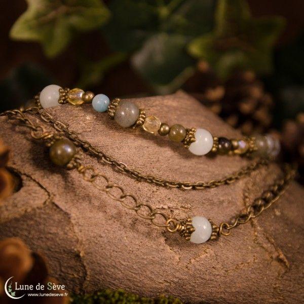 "Collier multirangs en pierres, amazonite, labradorite - ""Semeur d'Étoiles"""