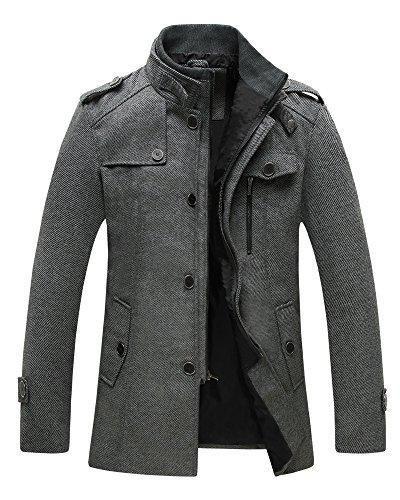 Wantdo Men's Pea Coat Stand Collar Windproof Jacket Overcoat Grey X-Large