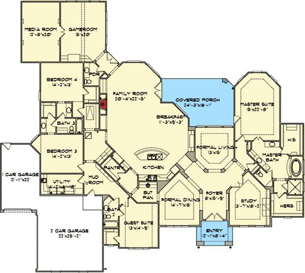 Luxurious One Story Living. Large Kitchen PlansLarge House ...
