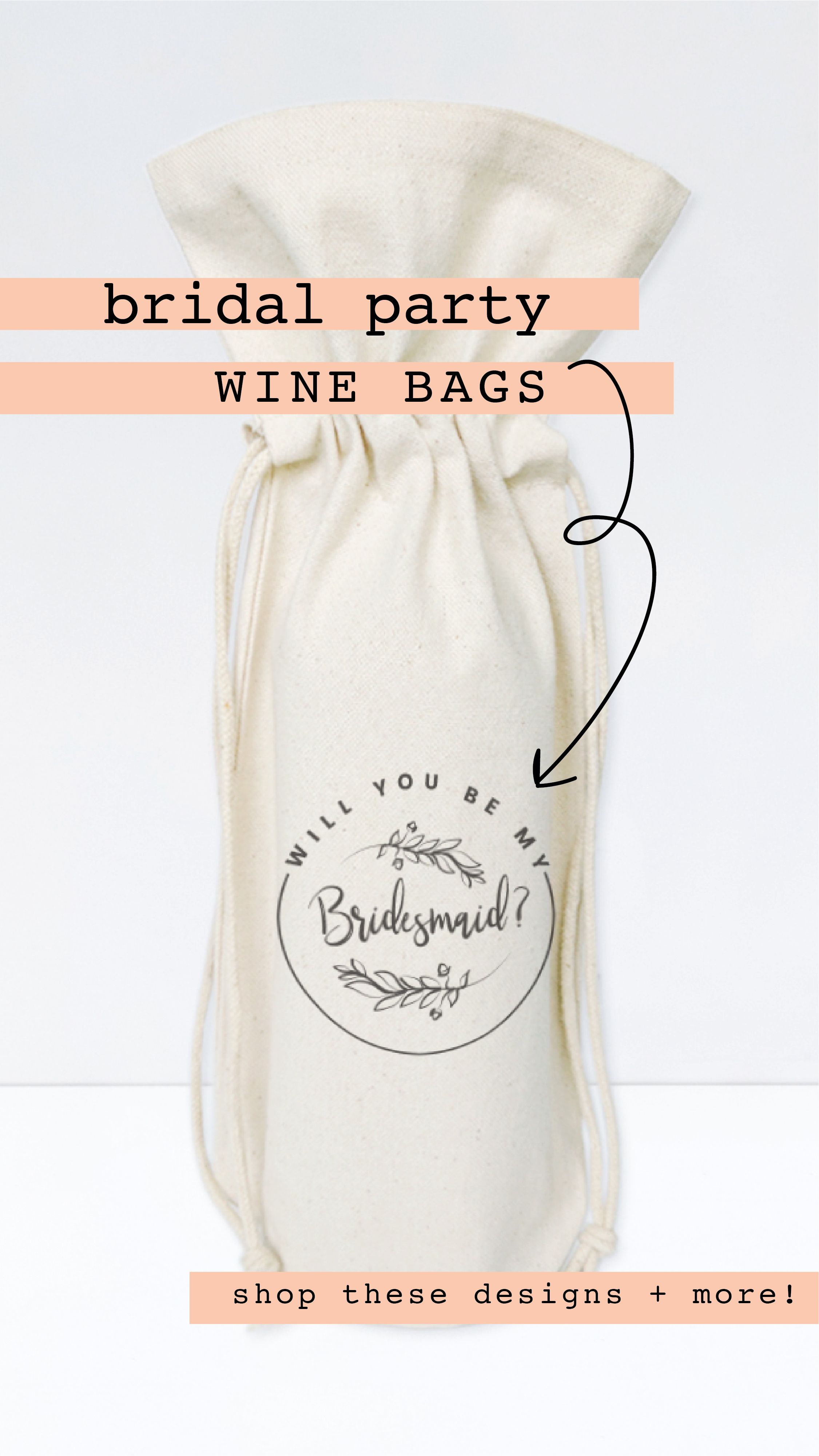 Will You Be My Bridesmaid? Cotton Canvas Wine Bag (With ...