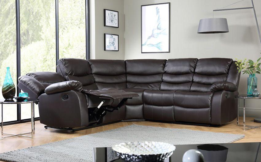 Sorrento Leather Recliner Corner Sofa Brown Living Room Sofa