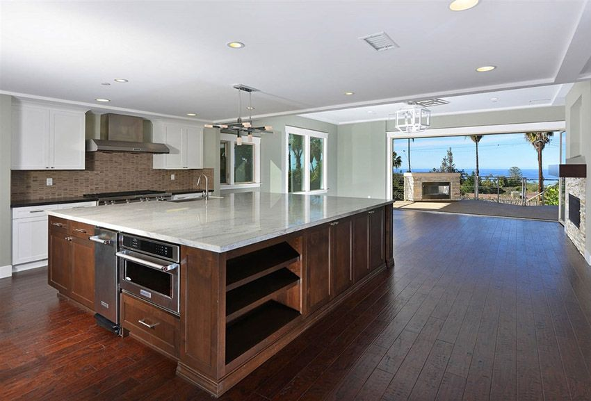 53 High End Contemporary Kitchen Designs With Natural Wood Cabinets Contemporary Kitchen Contemporary Kitchen Design Open Kitchen Layouts