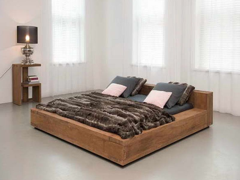 This Side Up Repurposed Wood Furniture Low Bed Frame Low